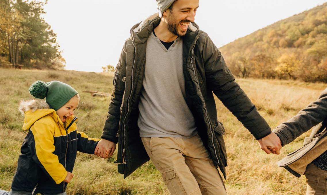 Father-Kids-Running